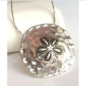 "Silver Sand Dollar Sea Life Necklace 24"" Island"